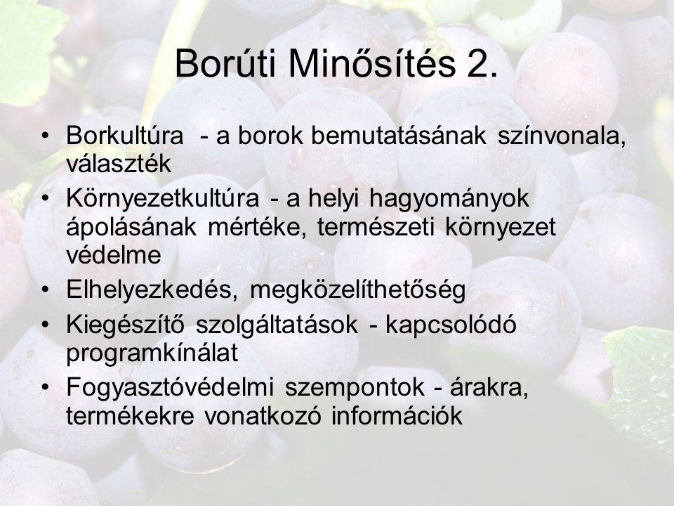 Borúti Minősítés 2. •Borkultúra - a borok bemutatásának színvonala, választék •Környezetkultúra - a helyi hagyományok ápolásának mértéke, természeti k