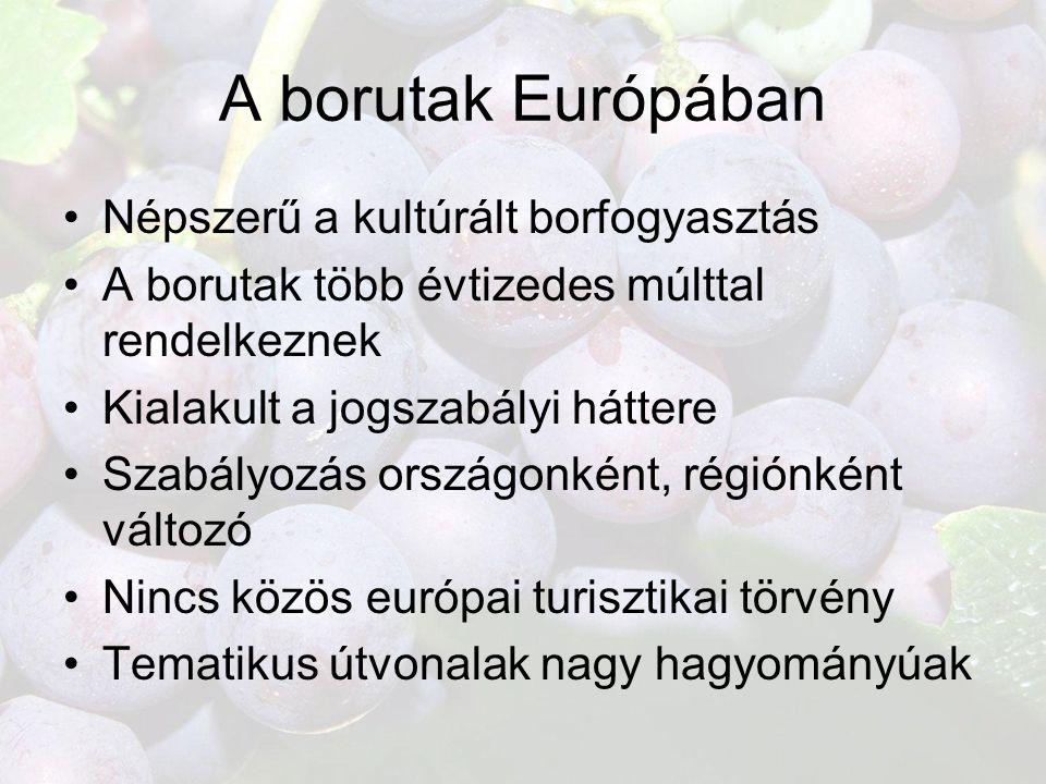 A borutak Európában •Népszerű a kultúrált borfogyasztás •A borutak több évtizedes múlttal rendelkeznek •Kialakult a jogszabályi háttere •Szabályozás o