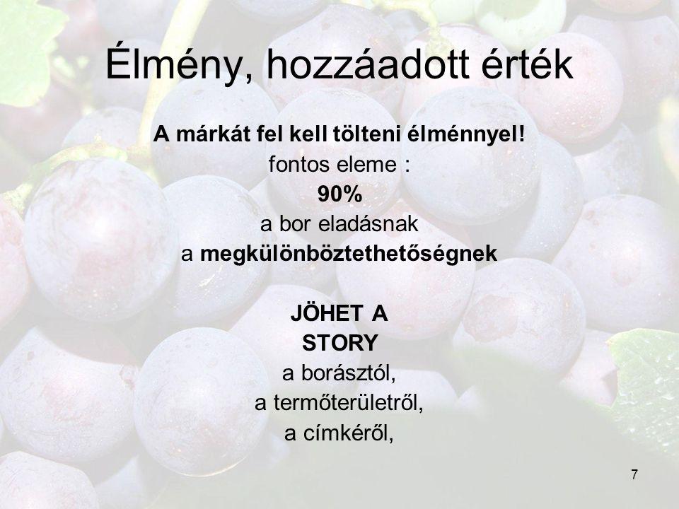 7 Élmény, hozzáadott érték A márkát fel kell tölteni élménnyel! fontos eleme : 90% a bor eladásnak a megkülönböztethetőségnek JÖHET A STORY a borásztó