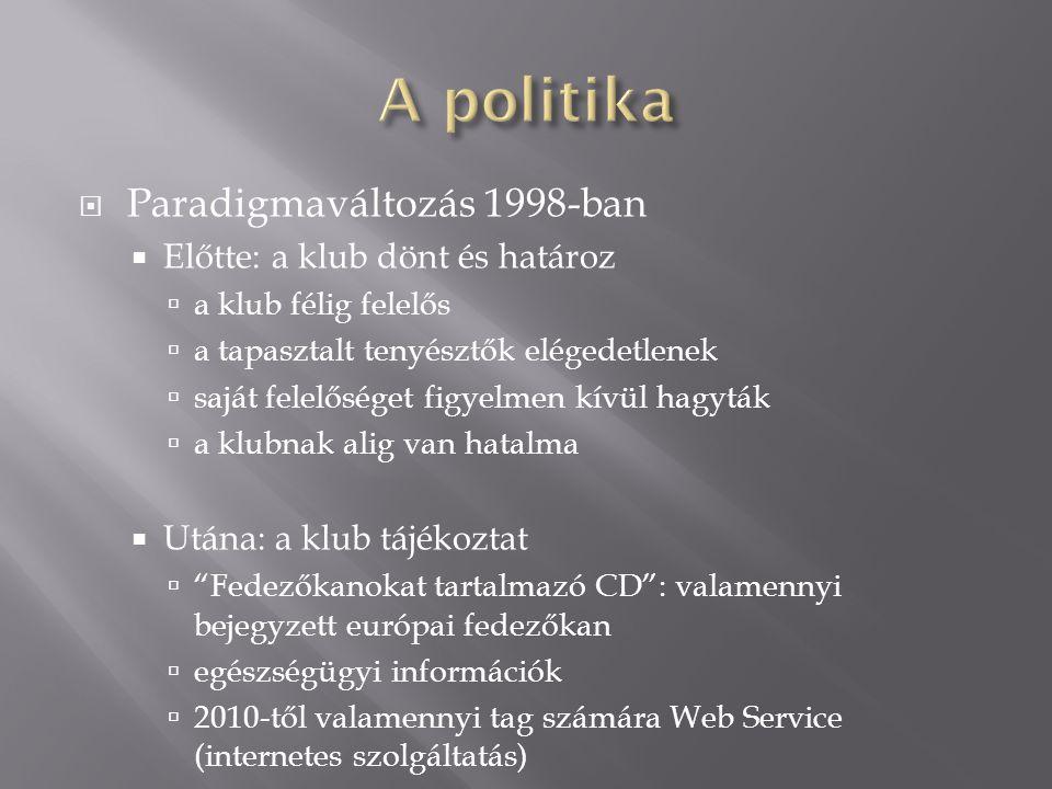  Paradigmaváltozás 1998-ban  Előtte: a klub dönt és határoz  a klub félig felelős  a tapasztalt tenyésztők elégedetlenek  saját felelőséget figyelmen kívül hagyták  a klubnak alig van hatalma  Utána: a klub tájékoztat  Fedezőkanokat tartalmazó CD : valamennyi bejegyzett európai fedezőkan  egészségügyi információk  2010-től valamennyi tag számára Web Service (internetes szolgáltatás)