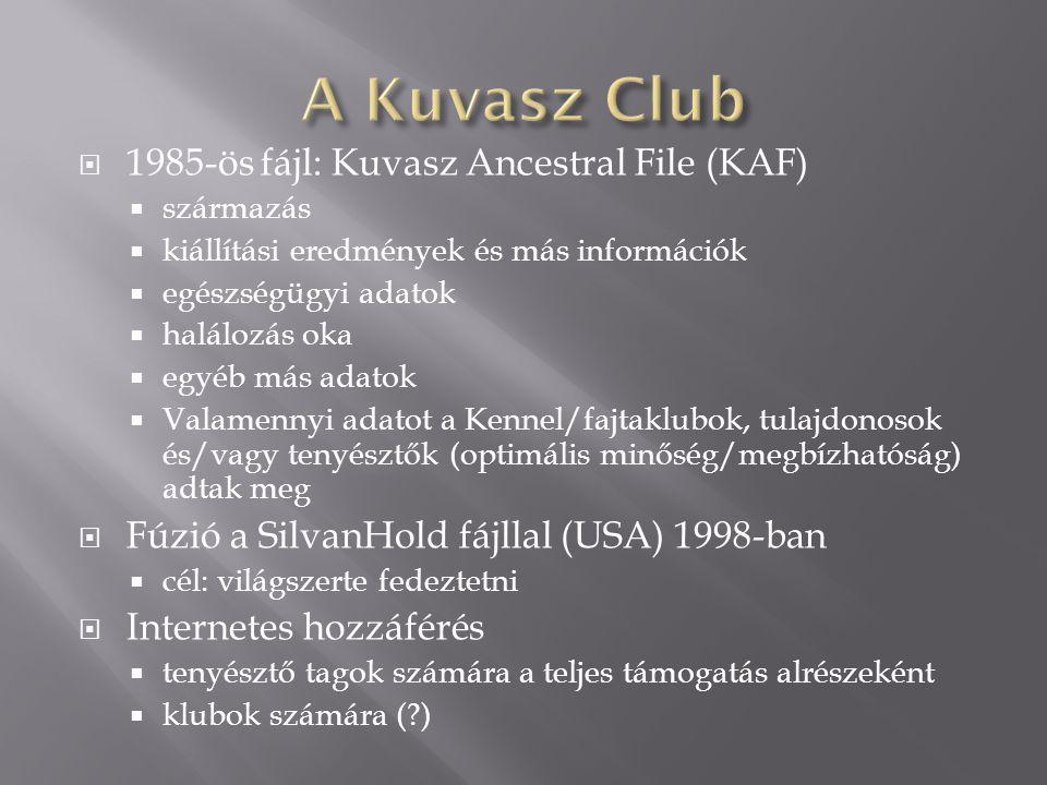  1985-ös fájl: Kuvasz Ancestral File (KAF)  származás  kiállítási eredmények és más információk  egészségügyi adatok  halálozás oka  egyéb más adatok  Valamennyi adatot a Kennel/fajtaklubok, tulajdonosok és/vagy tenyésztők (optimális minőség/megbízhatóság) adtak meg  Fúzió a SilvanHold fájllal (USA) 1998-ban  cél: világszerte fedeztetni  Internetes hozzáférés  tenyésztő tagok számára a teljes támogatás alrészeként  klubok számára (?)