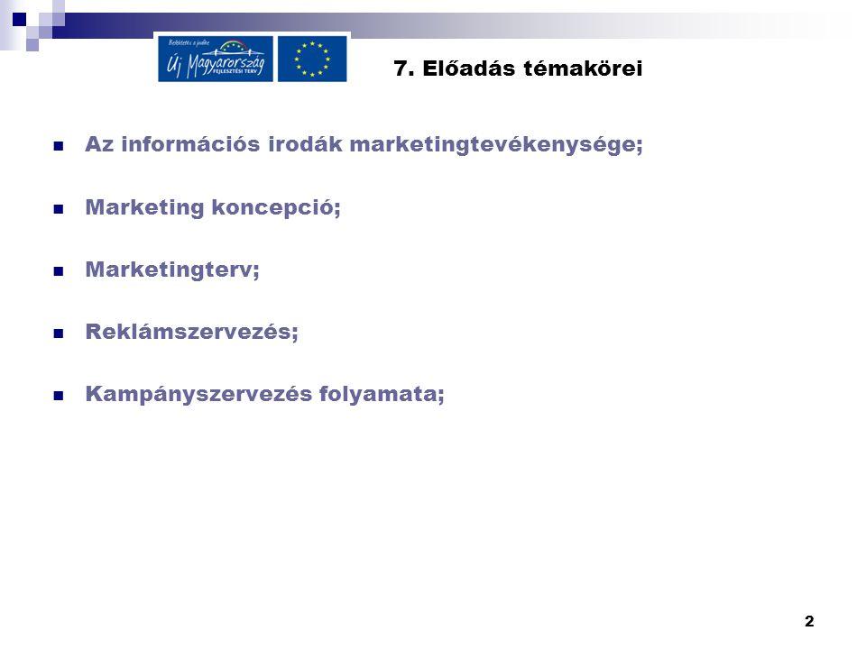 2 7. Előadás témakörei  Az információs irodák marketingtevékenysége;  Marketing koncepció;  Marketingterv;  Reklámszervezés;  Kampányszervezés fo