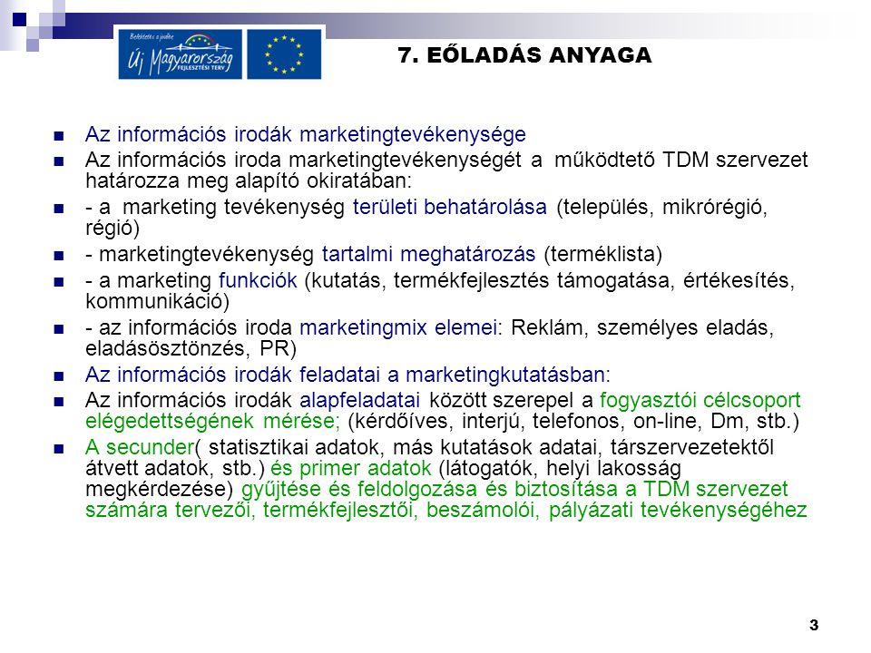 3 7. EŐLADÁS ANYAGA  Az információs irodák marketingtevékenysége  Az információs iroda marketingtevékenységét a működtető TDM szervezet határozza me