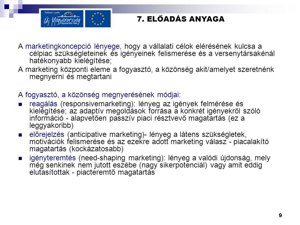 9 7. ELŐADÁS ANYAGA A marketingkoncepció lényege, hogy a vállalati célok elérésének kulcsa a célpiac szükségleteinek és igényeinek felismerése és a ve