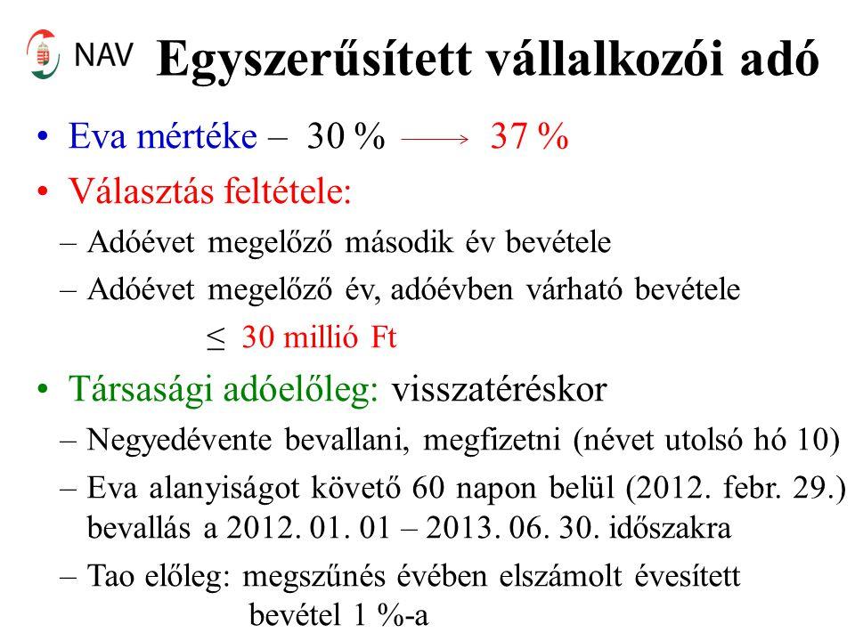 Egyszerűsített vállalkozói adó •Eva mértéke – 30 % 37 % •Választás feltétele: –Adóévet megelőző második év bevétele –Adóévet megelőző év, adóévben várható bevétele ≤ 30 millió Ft •Társasági adóelőleg: visszatéréskor –Negyedévente bevallani, megfizetni (névet utolsó hó 10) –Eva alanyiságot követő 60 napon belül (2012.
