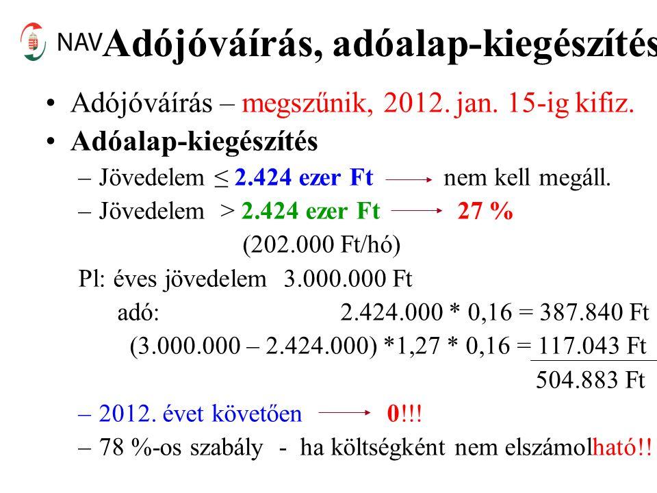 Adójóváírás, adóalap-kiegészítés •Adójóváírás – megszűnik, 2012. jan. 15-ig kifiz. •Adóalap-kiegészítés –Jövedelem ≤ 2.424 ezer Ft nem kell megáll. –J