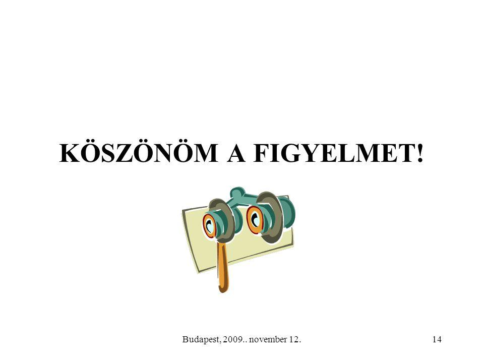 Budapest, 2009.. november 12.14 KÖSZÖNÖM A FIGYELMET!