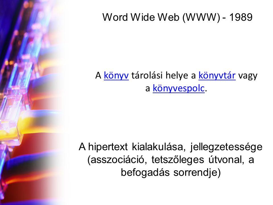Word Wide Web (WWW) - 1989 A hipertext kialakulása, jellegzetessége (asszociáció, tetszőleges útvonal, a befogadás sorrendje) A könyv tárolási helye a