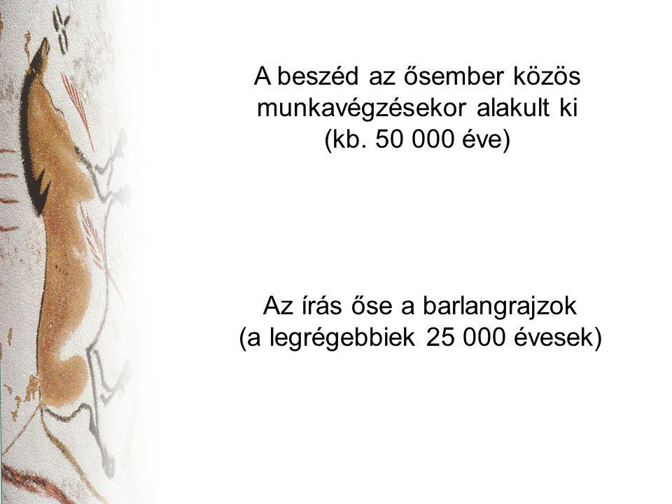 Az írás őse a barlangrajzok (a legrégebbiek 25 000 évesek) A beszéd az ősember közös munkavégzésekor alakult ki (kb. 50 000 éve)