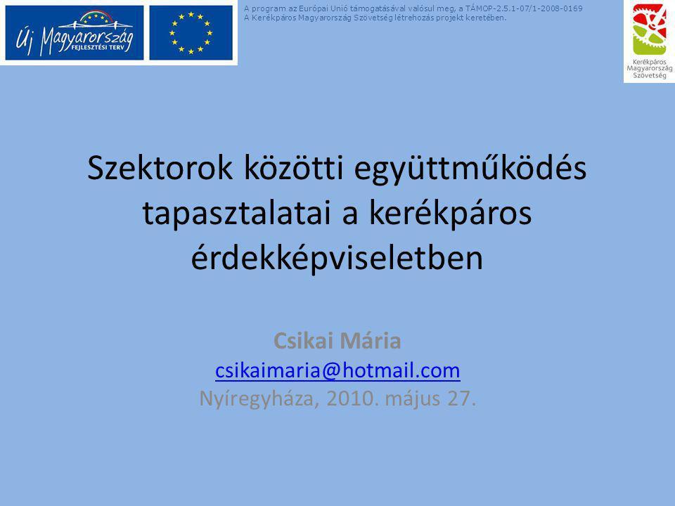 Szektorok közötti együttműködés tapasztalatai a kerékpáros érdekképviseletben Csikai Mária csikaimaria@hotmail.com Nyíregyháza, 2010. május 27. A prog