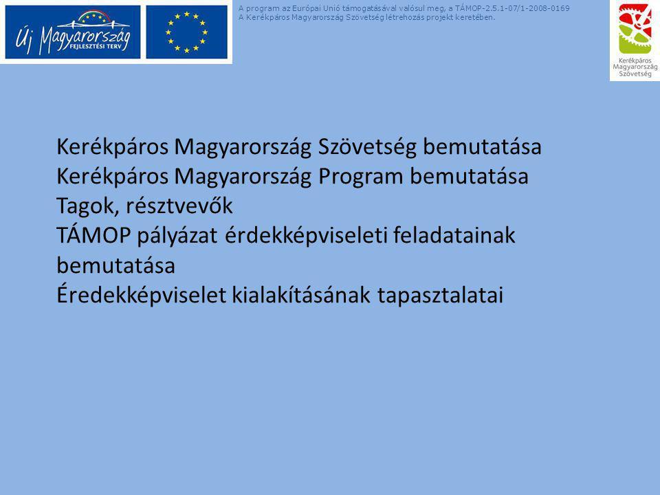 Kerékpáros Magyarország Szövetség bemutatása Kerékpáros Magyarország Program bemutatása Tagok, résztvevők TÁMOP pályázat érdekképviseleti feladatainak bemutatása Éredekképviselet kialakításának tapasztalatai A program az Európai Unió támogatásával valósul meg, a TÁMOP-2.5.1-07/1-2008-0169 A Kerékpáros Magyarország Szövetség létrehozás projekt keretében.