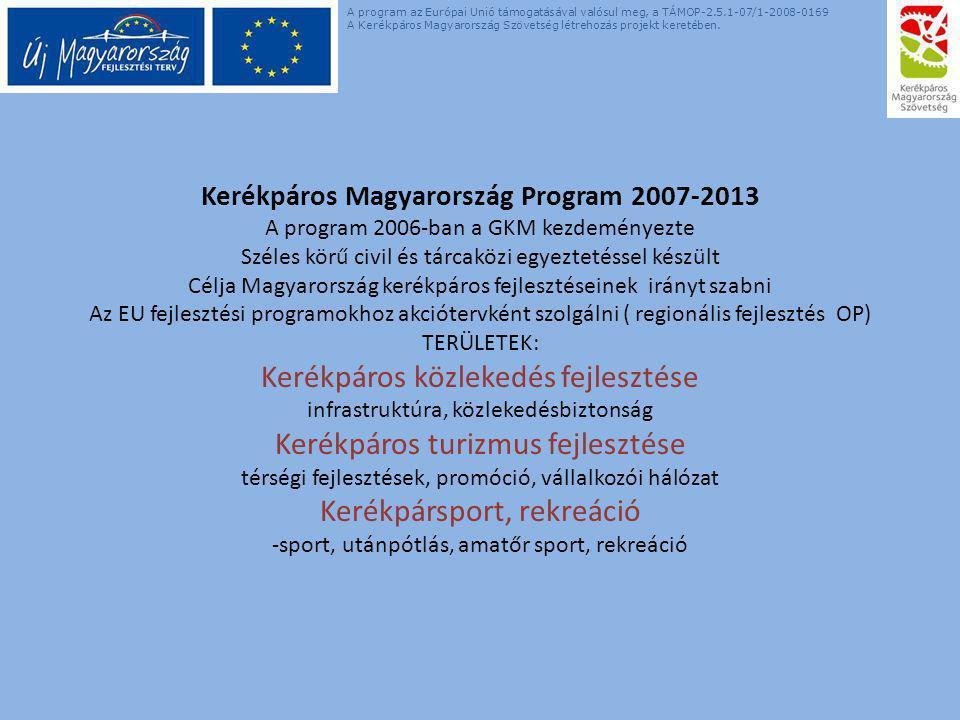 Kerékpáros Magyarország Program 2007-2013 A program 2006-ban a GKM kezdeményezte Széles körű civil és tárcaközi egyeztetéssel készült Célja Magyarország kerékpáros fejlesztéseinek irányt szabni Az EU fejlesztési programokhoz akciótervként szolgálni ( regionális fejlesztés OP) TERÜLETEK: Kerékpáros közlekedés fejlesztése infrastruktúra, közlekedésbiztonság Kerékpáros turizmus fejlesztése térségi fejlesztések, promóció, vállalkozói hálózat Kerékpársport, rekreáció -sport, utánpótlás, amatőr sport, rekreáció A program az Európai Unió támogatásával valósul meg, a TÁMOP-2.5.1-07/1-2008-0169 A Kerékpáros Magyarország Szövetség létrehozás projekt keretében.