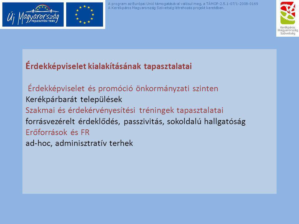 É rdekképviselet kialakításának tapasztalatai Érdekképviselet és promóció önkormányzati szinten Kerékpárbarát települések Szakmai és érdekérvényesítési tréningek tapasztalatai forrásvezérelt érdeklődés, passzivitás, sokoldalú hallgatóság Erőforrások és FR ad-hoc, adminisztratív terhek A program az Európai Unió támogatásával valósul meg, a TÁMOP-2.5.1-07/1-2008-0169 A Kerékpáros Magyarország Szövetség létrehozás projekt keretében.