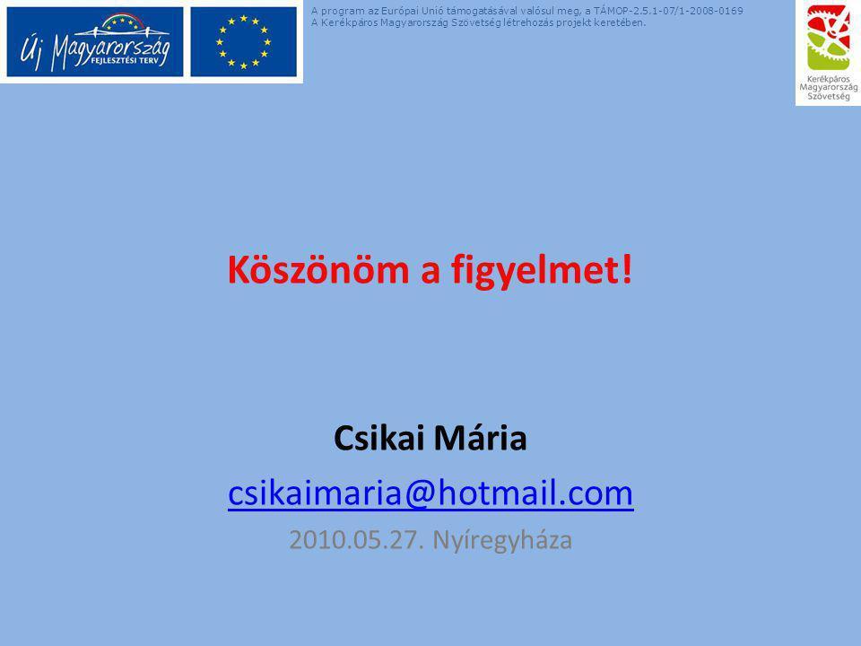 Köszönöm a figyelmet! Csikai Mária csikaimaria@hotmail.com 2010.05.27. Nyíregyháza A program az Európai Unió támogatásával valósul meg, a TÁMOP-2.5.1-