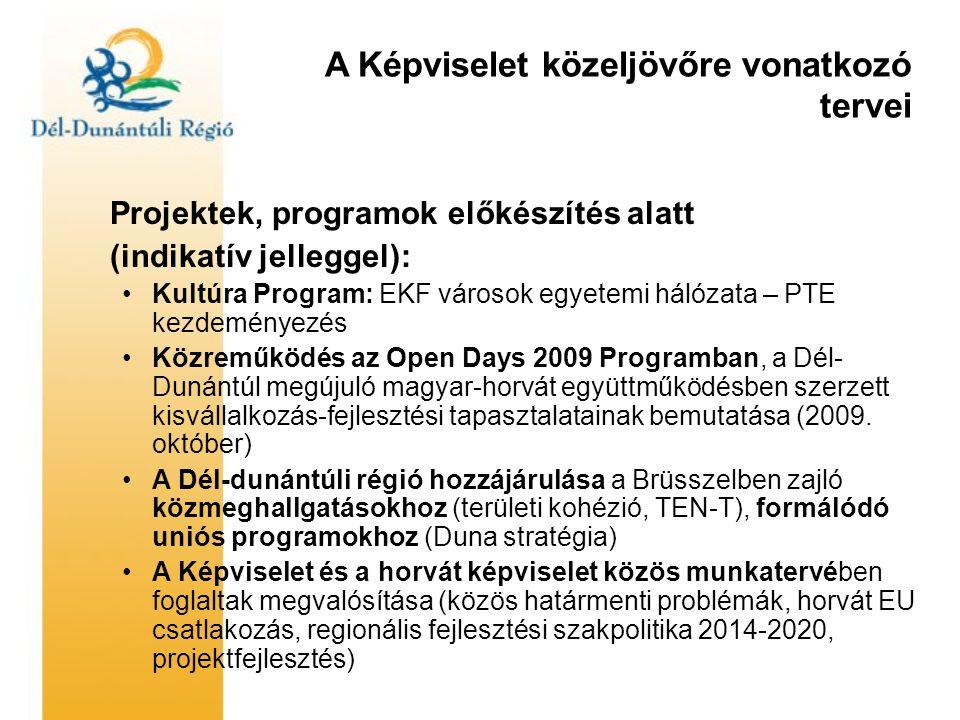 A Képviselet közeljövőre vonatkozó tervei Projektek, programok előkészítés alatt (indikatív jelleggel): •Kultúra Program: EKF városok egyetemi hálózata – PTE kezdeményezés •Közreműködés az Open Days 2009 Programban, a Dél- Dunántúl megújuló magyar-horvát együttműködésben szerzett kisvállalkozás-fejlesztési tapasztalatainak bemutatása (2009.