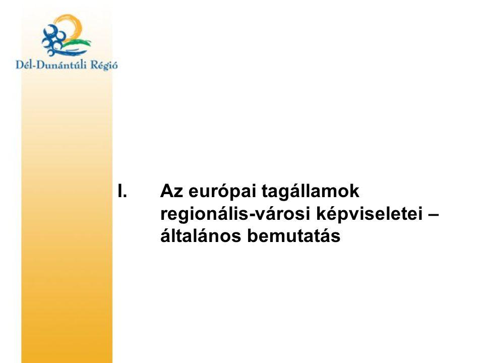 Az európai régiók brüsszeli képviseleteinek általános feladatai •információgyűjtés és továbbítás (az EU intézményi struktúráiról, azok működéséről) •pályázati források szerzése •lobbitevékenység, érdekkijárás (képesnek lenni arra, hogy a helyi és regionális álláspontokat az EU döntéshozói számára érthető-képviselhető módon elmagyarázzuk) •hálózatépítés, kapcsolatok ápolása (a Brüsszelben hasonló tevékenységet folytató lobbi-irodák közötti folyamatos kommunikáció) •nemzeti hálózatépítés (azonos tagállamból származó, Brüsszelben dolgozó munkatársak közötti rendszeres kommunikáció) •tanácsadás és segítségnyújtás a helyi-regionális politikusok számára •promóció és prezentáció (helyi/regionális érdekek megfelelő előadása, közvetítése) •képzések és tanulmányutak szervezése