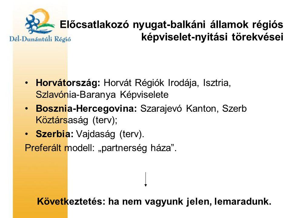 Előcsatlakozó nyugat-balkáni államok régiós képviselet-nyitási törekvései •Horvátország: Horvát Régiók Irodája, Isztria, Szlavónia-Baranya Képviselete •Bosznia-Hercegovina: Szarajevó Kanton, Szerb Köztársaság (terv); •Szerbia: Vajdaság (terv).