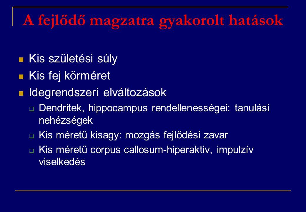 A fejlődő magzatra gyakorolt hatások  Kis születési súly  Kis fej körméret  Idegrendszeri elváltozások  Dendritek, hippocampus rendellenességei: tanulási nehézségek  Kis méretű kisagy: mozgás fejlődési zavar  Kis méretű corpus callosum-hiperaktiv, impulzív viselkedés