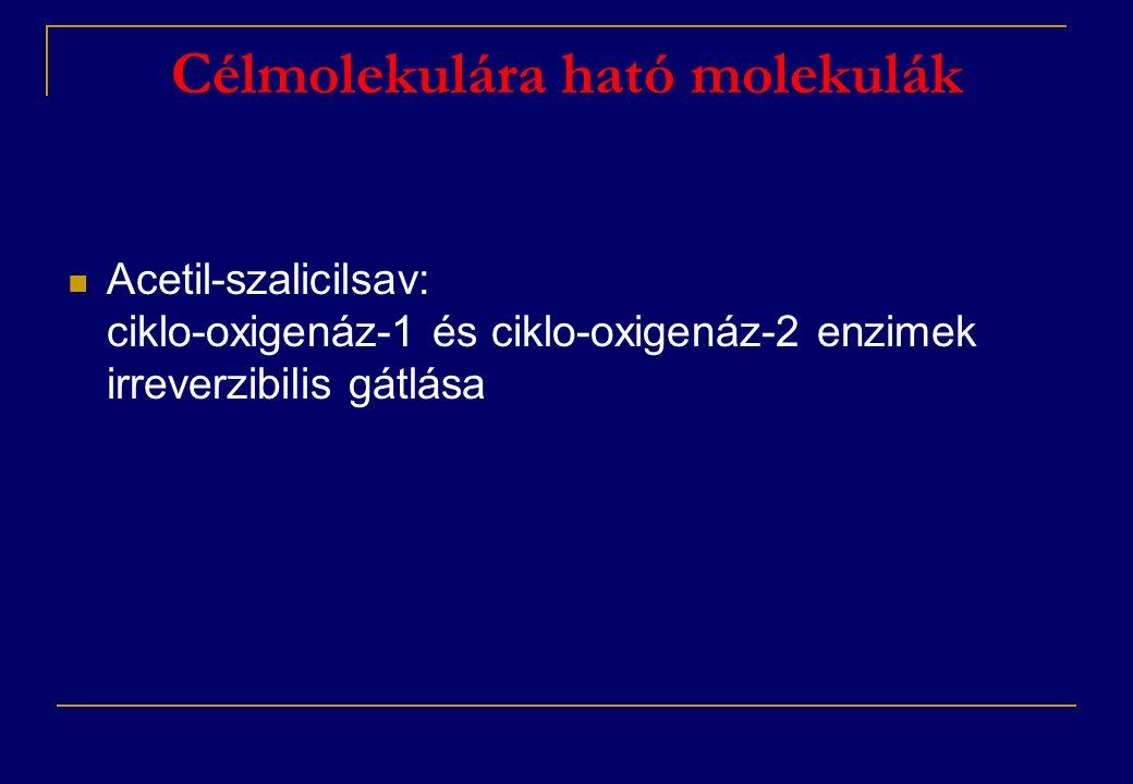 Célmolekulára ható molekulák  Acetil-szalicilsav: ciklo-oxigenáz-1 és ciklo-oxigenáz-2 enzimek irreverzibilis gátlása