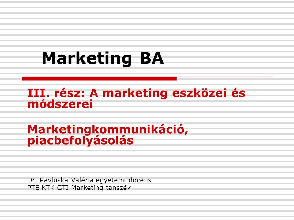 Marketing BA III. rész: A marketing eszközei és módszerei Marketingkommunikáció, piacbefolyásolás Dr. Pavluska Valéria egyetemi docens PTE KTK GTI Mar