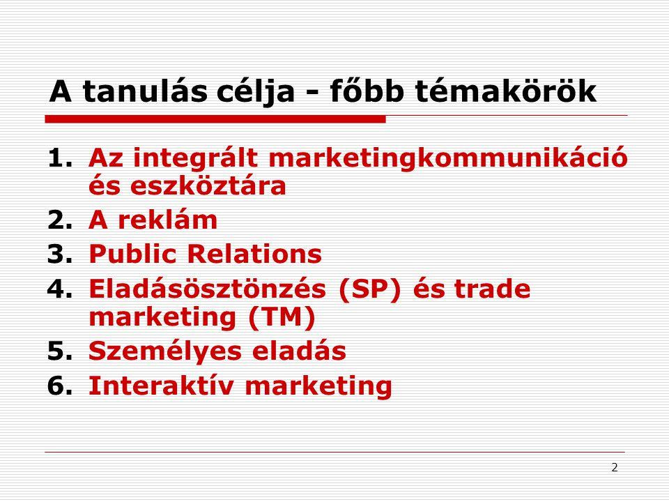 2 A tanulás célja - főbb témakörök 1.Az integrált marketingkommunikáció és eszköztára 2.A reklám 3.Public Relations 4.Eladásösztönzés (SP) és trade ma