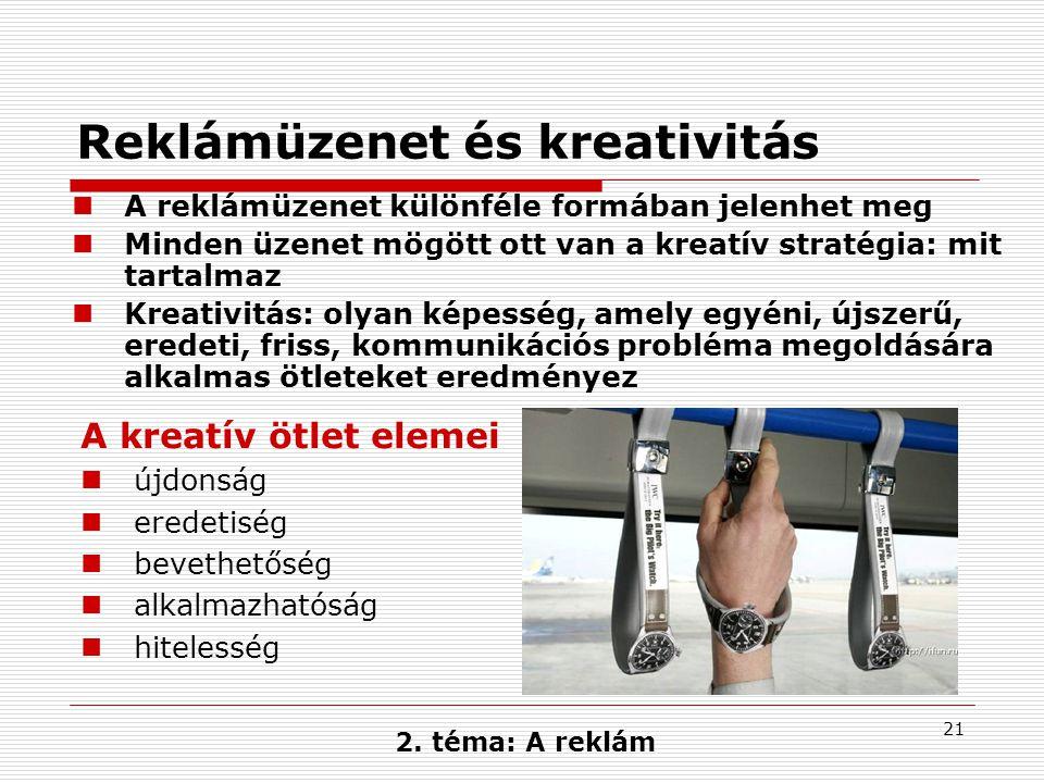 21 2. téma: A reklám A kreatív ötlet elemei  újdonság  eredetiség  bevethetőség  alkalmazhatóság  hitelesség  A reklámüzenet különféle formában