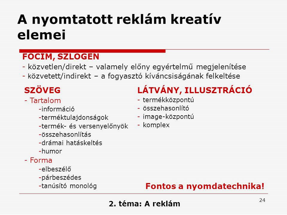 24 2. téma: A reklám A nyomtatott reklám kreatív elemei SZÖVEG -Tartalom -információ -terméktulajdonságok -termék- és versenyelőnyök -összehasonlítás