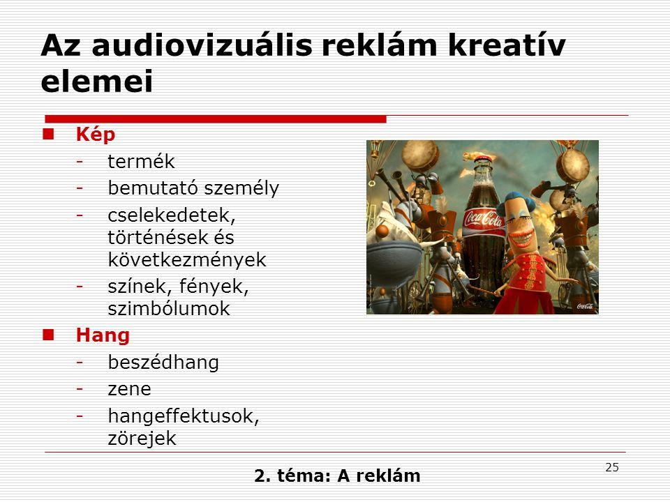 25 Az audiovizuális reklám kreatív elemei  Kép -termék -bemutató személy -cselekedetek, történések és következmények -színek, fények, szimbólumok  H