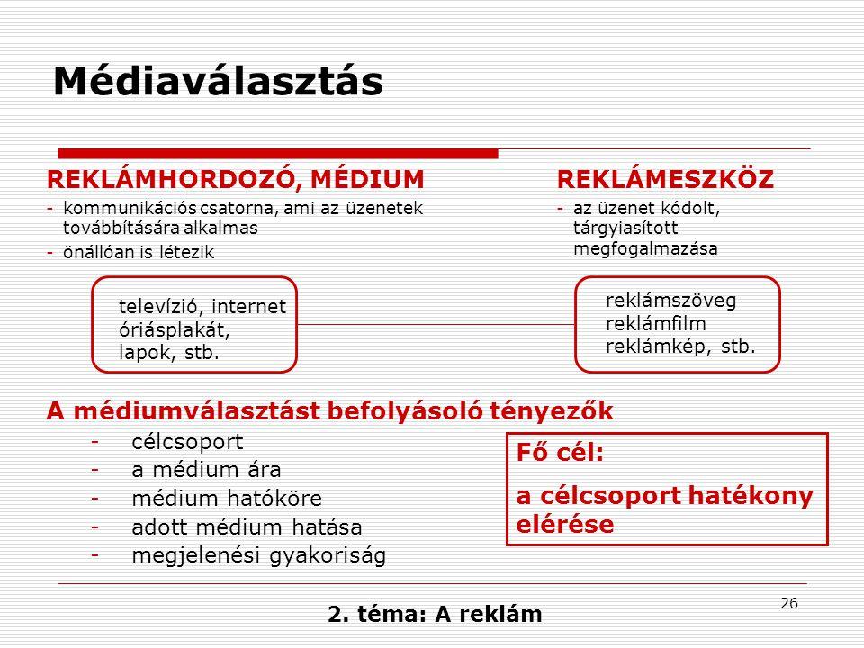 26 Médiaválasztás REKLÁMHORDOZÓ, MÉDIUM -kommunikációs csatorna, ami az üzenetek továbbítására alkalmas -önállóan is létezik REKLÁMESZKÖZ -az üzenet k