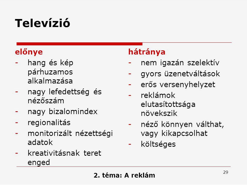 29 Televízió előnye -hang és kép párhuzamos alkalmazása -nagy lefedettség és nézőszám -nagy bizalomindex -regionalitás -monitorizált nézettségi adatok