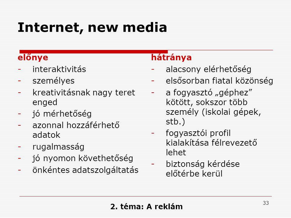 33 Internet, new media előnye -interaktivitás -személyes -kreativitásnak nagy teret enged -jó mérhetőség -azonnal hozzáférhető adatok -rugalmasság -jó