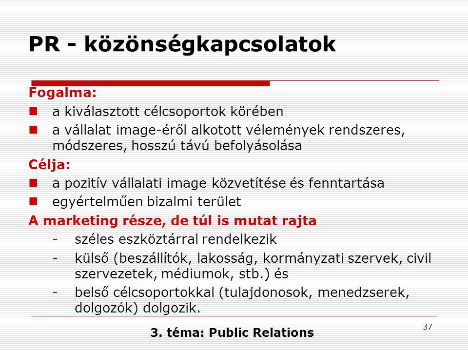 37 3. téma: Public Relations PR - közönségkapcsolatok Fogalma:  a kiválasztott célcsoportok körében  a vállalat image-éről alkotott vélemények rends
