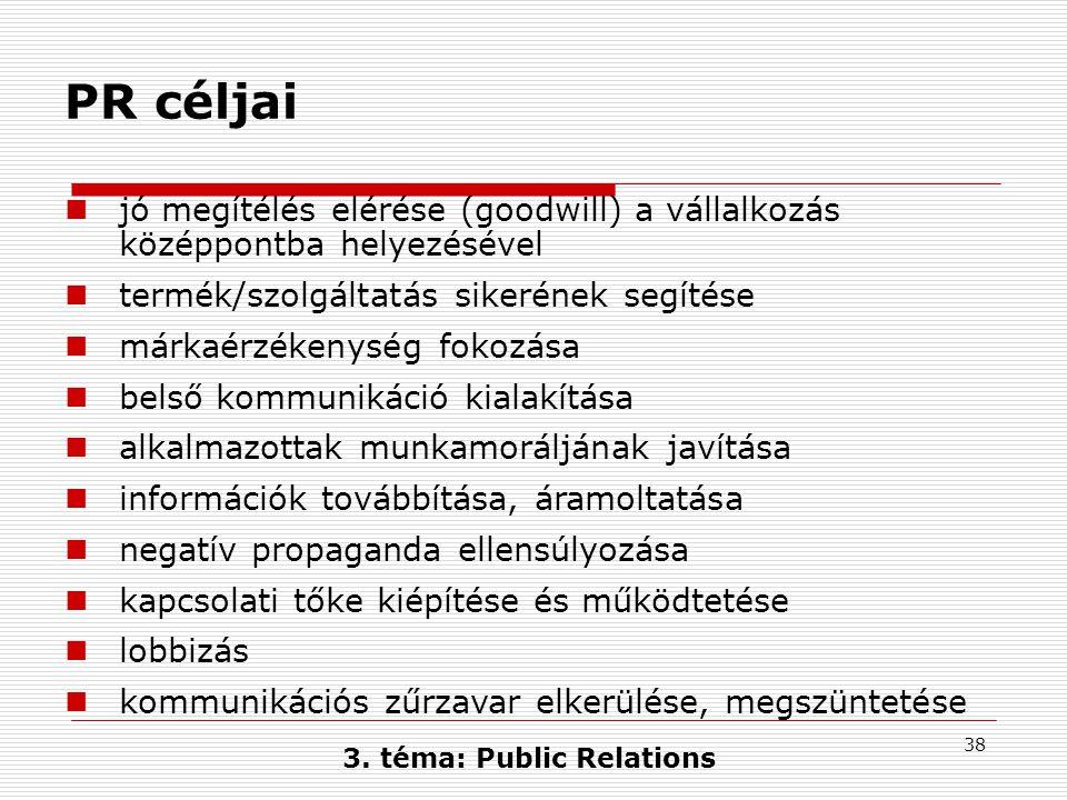 38 3. téma: Public Relations PR céljai  jó megítélés elérése (goodwill) a vállalkozás középpontba helyezésével  termék/szolgáltatás sikerének segíté