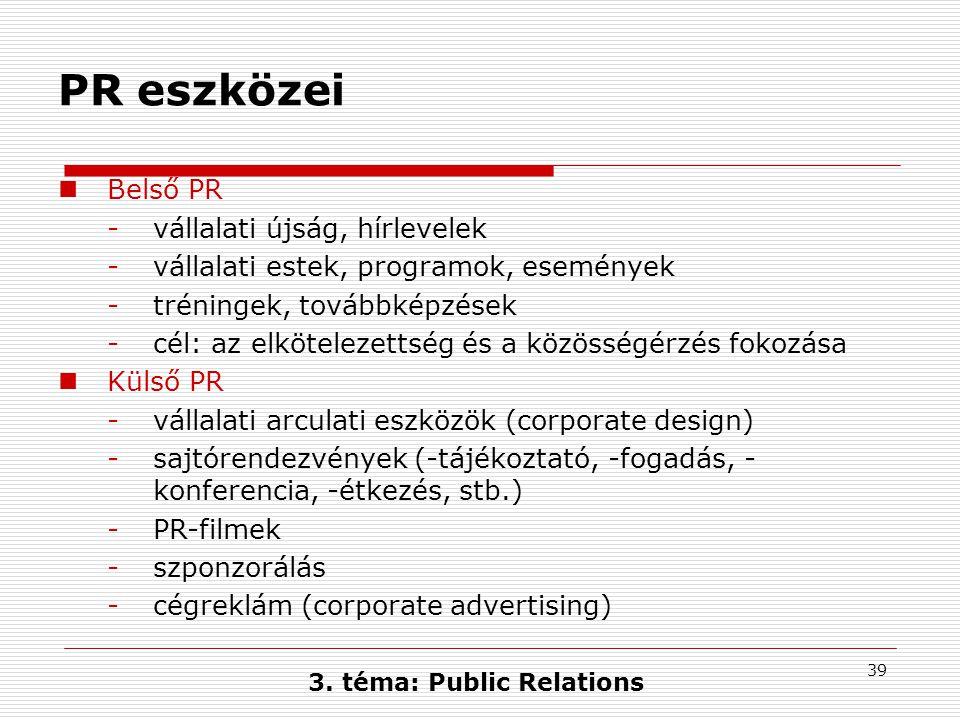 39 3. téma: Public Relations PR eszközei  Belső PR -vállalati újság, hírlevelek -vállalati estek, programok, események -tréningek, továbbképzések -cé