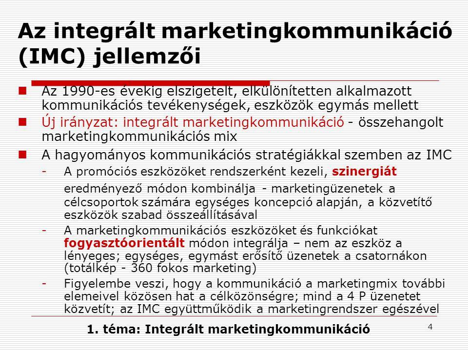 4 Az integrált marketingkommunikáció (IMC) jellemzői  Az 1990-es évekig elszigetelt, elkülönítetten alkalmazott kommunikációs tevékenységek, eszközök