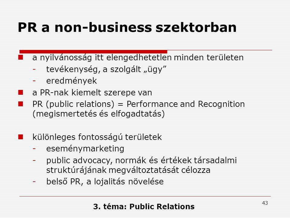 """43 PR a non-business szektorban  a nyilvánosság itt elengedhetetlen minden területen -tevékenység, a szolgált """"ügy"""" -eredmények  a PR-nak kiemelt sz"""