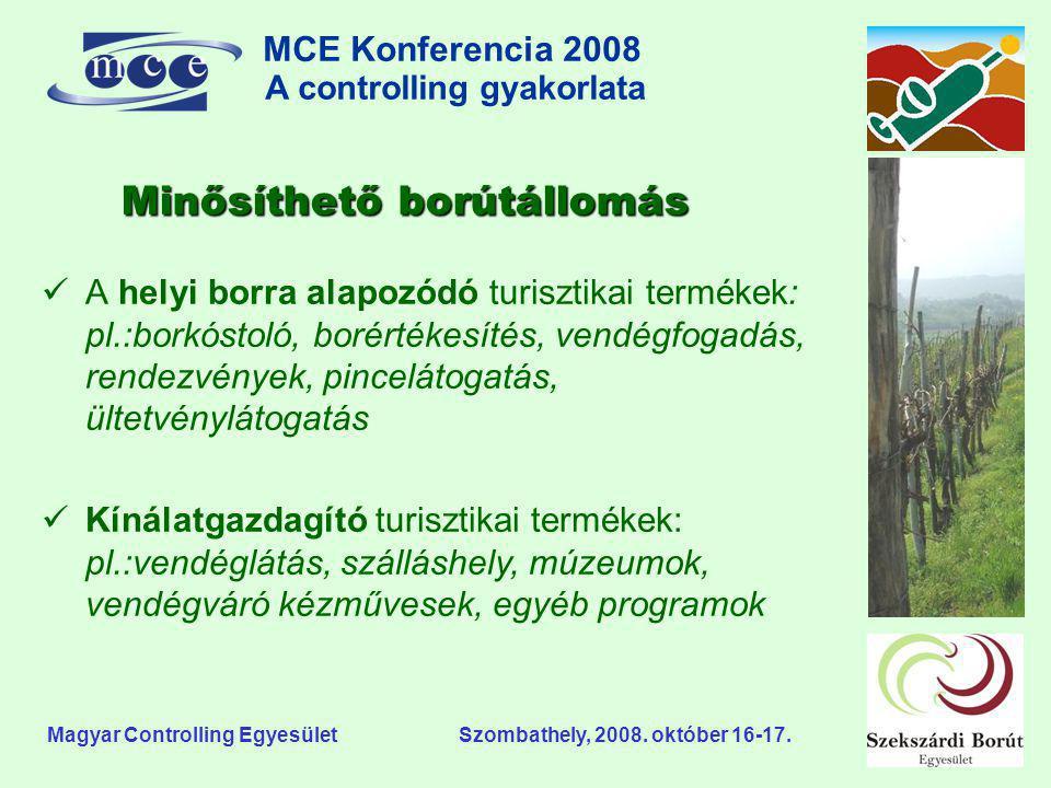 MCE Konferencia 2008 A controlling gyakorlata o Magyar Controlling Egyesület Szombathely, 2008. október 16-17. Minősíthető borútállomás  A helyi borr