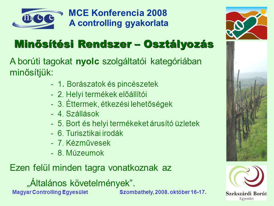MCE Konferencia 2008 A controlling gyakorlata o Magyar Controlling Egyesület Szombathely, 2008. október 16-17. A borúti tagokat nyolc szolgáltatói kat