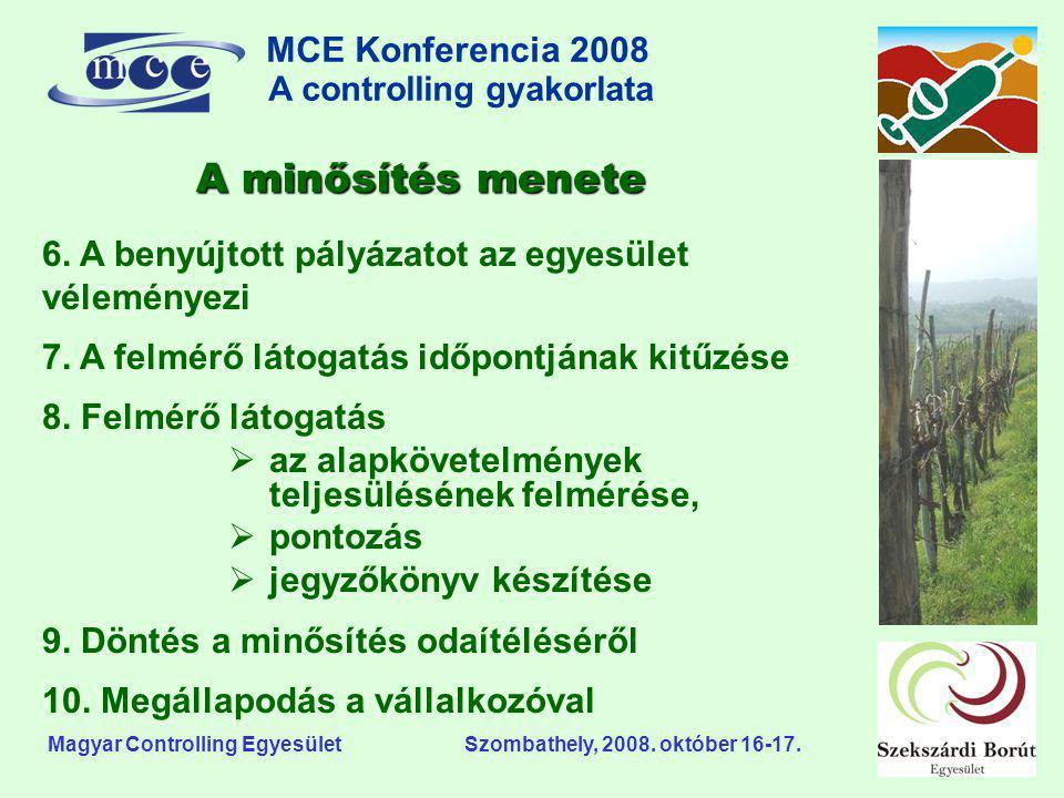 MCE Konferencia 2008 A controlling gyakorlata o Magyar Controlling Egyesület Szombathely, 2008. október 16-17. 6. A benyújtott pályázatot az egyesület