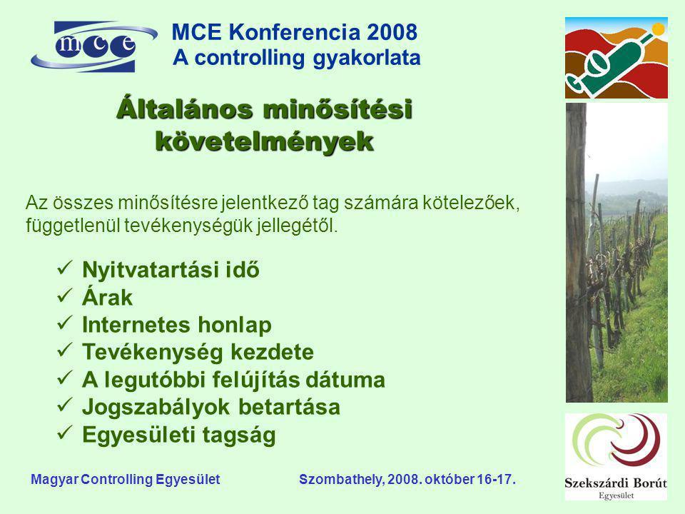 MCE Konferencia 2008 A controlling gyakorlata o Magyar Controlling Egyesület Szombathely, 2008. október 16-17.  Nyitvatartási idő  Árak  Internetes