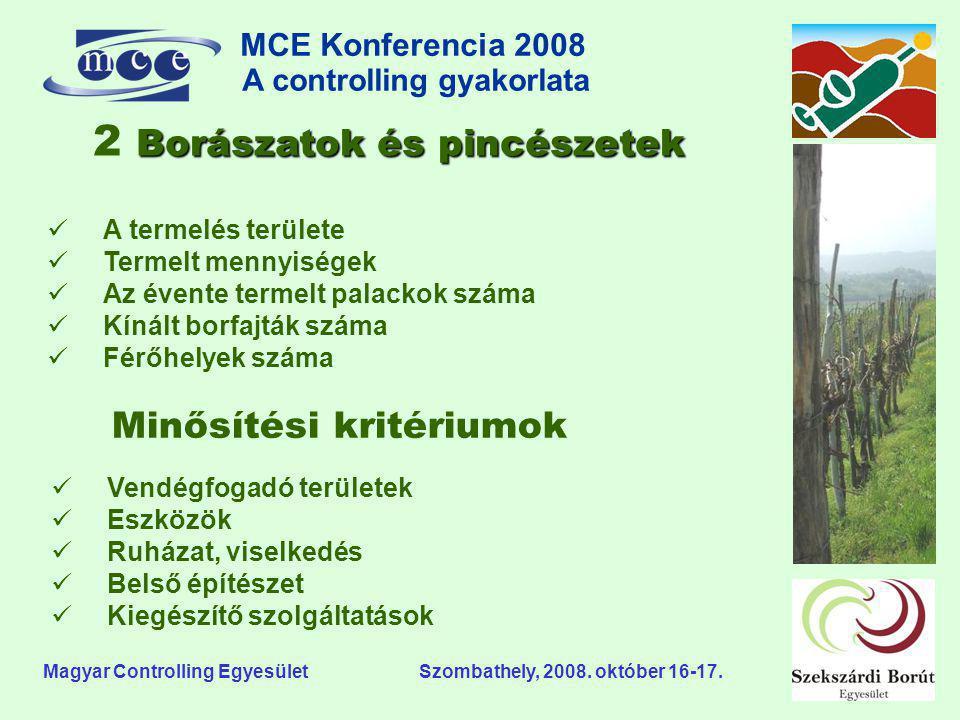 MCE Konferencia 2008 A controlling gyakorlata o Magyar Controlling Egyesület Szombathely, 2008. október 16-17. Borászatok és pincészetek 2 Borászatok