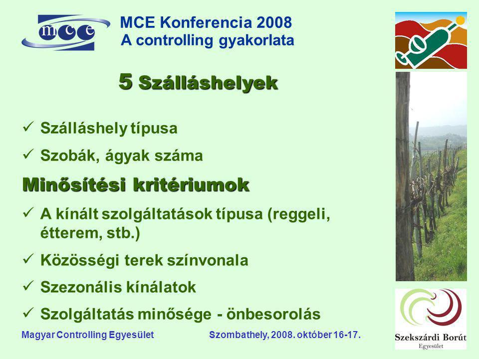 MCE Konferencia 2008 A controlling gyakorlata o Magyar Controlling Egyesület Szombathely, 2008. október 16-17. 5 Szálláshelyek  Szálláshely típusa 