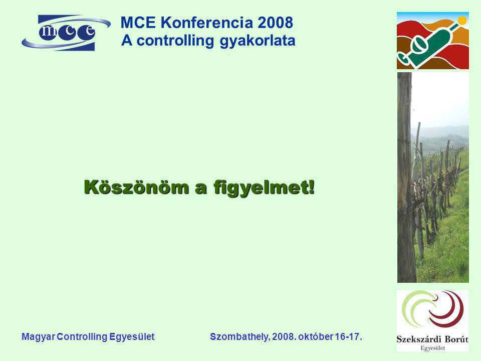 MCE Konferencia 2008 A controlling gyakorlata o Magyar Controlling Egyesület Szombathely, 2008. október 16-17. Köszönöm a figyelmet!
