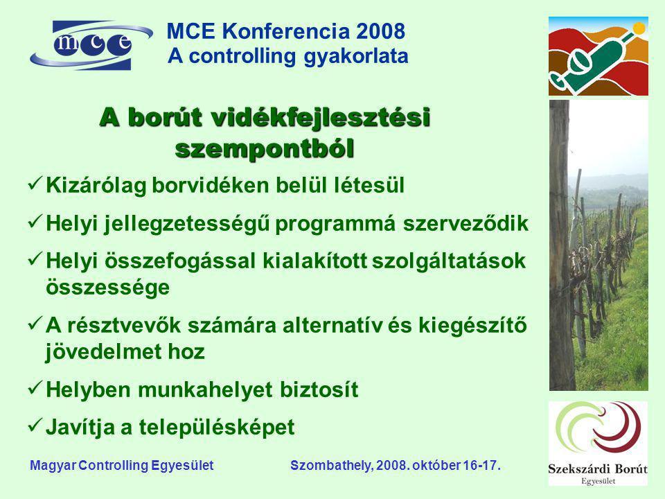 MCE Konferencia 2008 A controlling gyakorlata o Magyar Controlling Egyesület Szombathely, 2008. október 16-17. A borút vidékfejlesztési szempontból 