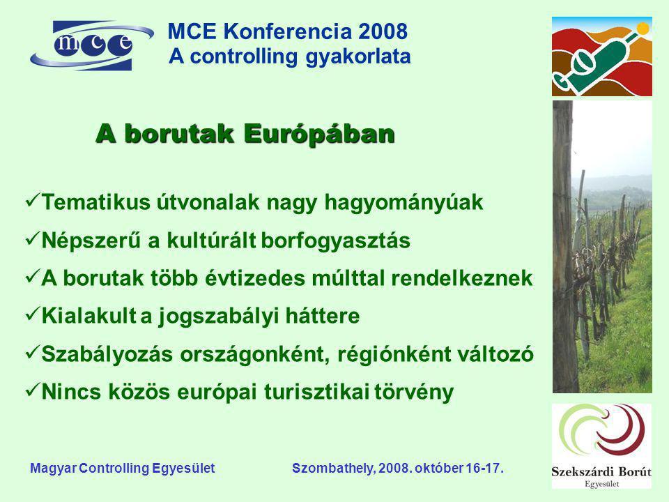 MCE Konferencia 2008 A controlling gyakorlata o Magyar Controlling Egyesület Szombathely, 2008. október 16-17. A borutak Európában  Tematikus útvonal