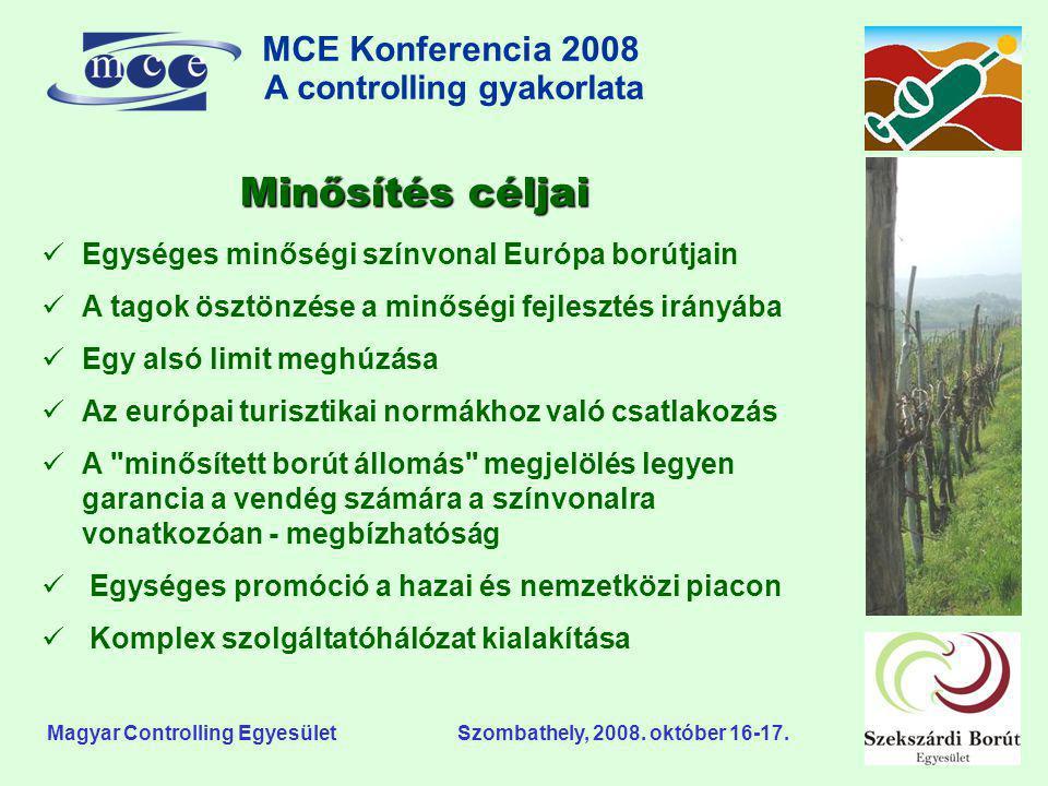 MCE Konferencia 2008 A controlling gyakorlata o Magyar Controlling Egyesület Szombathely, 2008. október 16-17. Minősítés céljai  Egységes minőségi sz