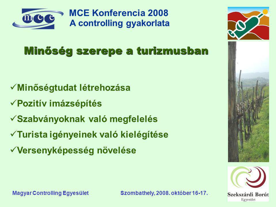MCE Konferencia 2008 A controlling gyakorlata o Magyar Controlling Egyesület Szombathely, 2008. október 16-17. Minőség szerepe a turizmusban  Minőség