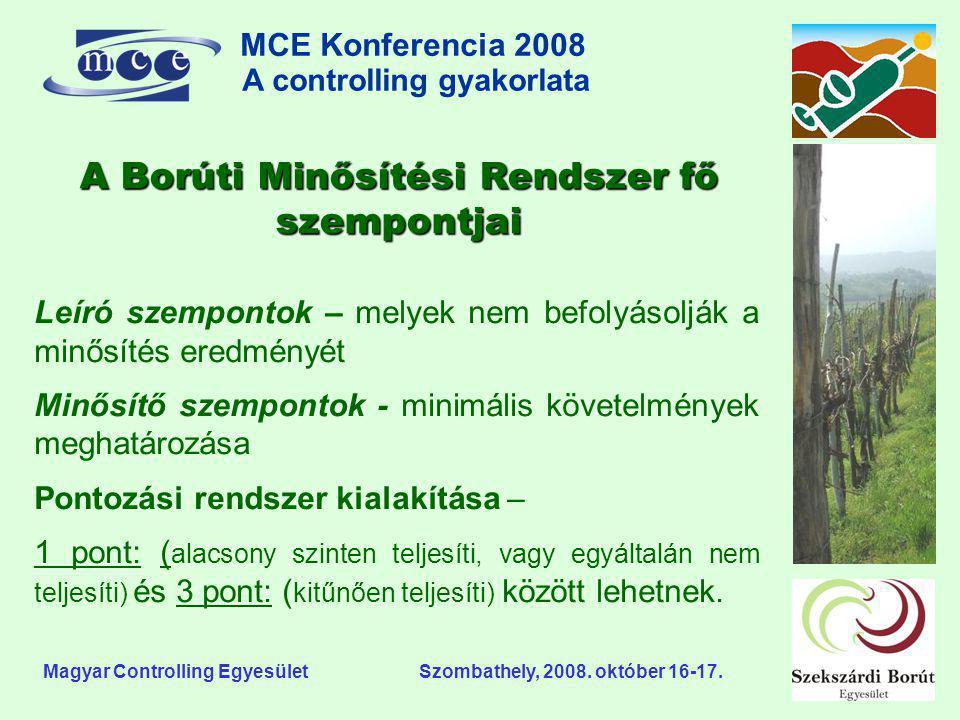 MCE Konferencia 2008 A controlling gyakorlata o Magyar Controlling Egyesület Szombathely, 2008. október 16-17. Leíró szempontok – melyek nem befolyáso
