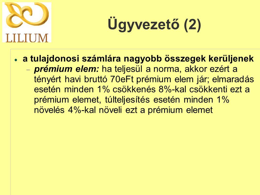 Ügyvezető (2)  a tulajdonosi számlára nagyobb összegek kerüljenek  prémium elem: ha teljesül a norma, akkor ezért a tényért havi bruttó 70eFt prémium elem jár; elmaradás esetén minden 1% csökkenés 8%-kal csökkenti ezt a prémium elemet, túlteljesítés esetén minden 1% növelés 4%-kal növeli ezt a prémium elemet