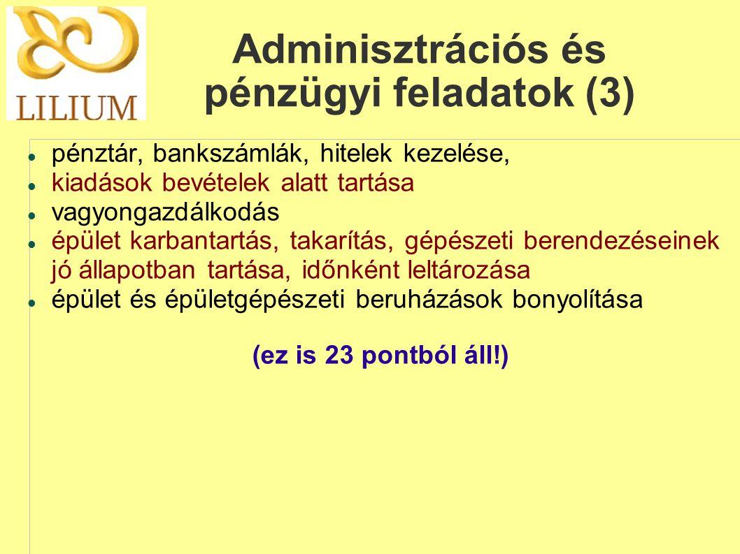 Adminisztrációs és pénzügyi feladatok (3)  pénztár, bankszámlák, hitelek kezelése,  kiadások bevételek alatt tartása  vagyongazdálkodás  épület k